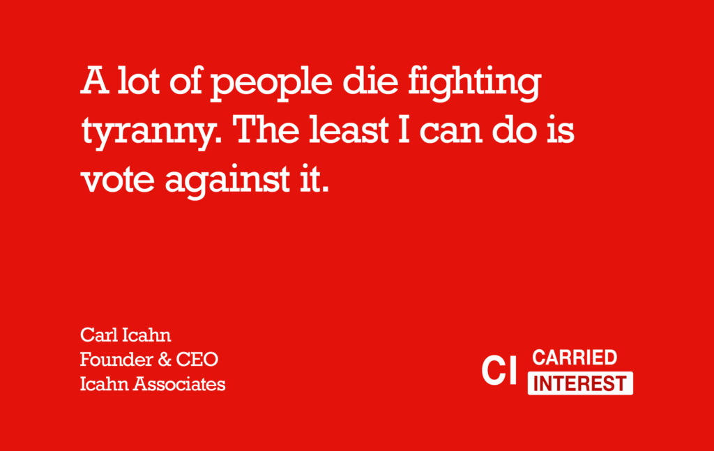 Carl Icahn Die Fighting Quote